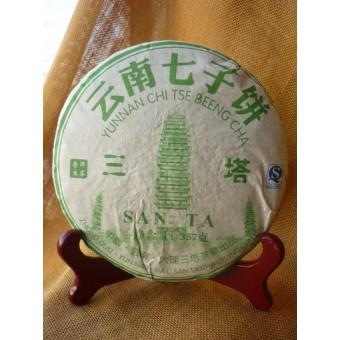 Купить Зеленый шен пуэр Ци Цзы Бин Сань Та «Три Пагоды» блинчик 357г.