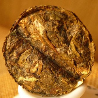 Зеленый мини-шен пуэр «Золотой медальон» с рисовой травой 150г.