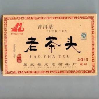 Купить Черный Шу пуэр Цзинлун - Лао Ча Тоу «Старые Чайные Головы» кирпич 250г.