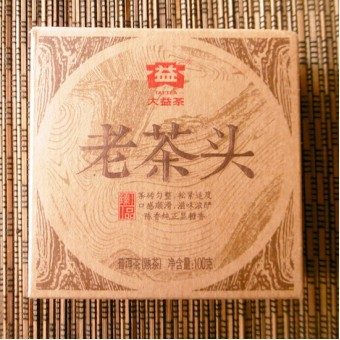 Чёрный шу пуэр ДаИ Лао Ча Тоу «Старые Чайные Головы» плитка 100гр. 2014г.