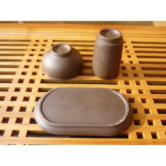 Неглазурированная глиняная Гун Фу Ча пара на подставке