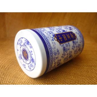 Металлическая баночка бело-голубая под 100г. чая